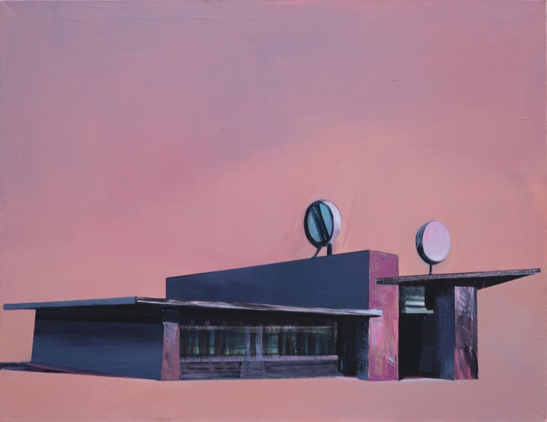 Maria Kiesner Figurative Painting - Gas Station - Modern Architectural Painting, Modernism Painting, Architecture