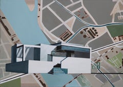 House on the City Map - Modern Architectural Painting, Modernism Painting