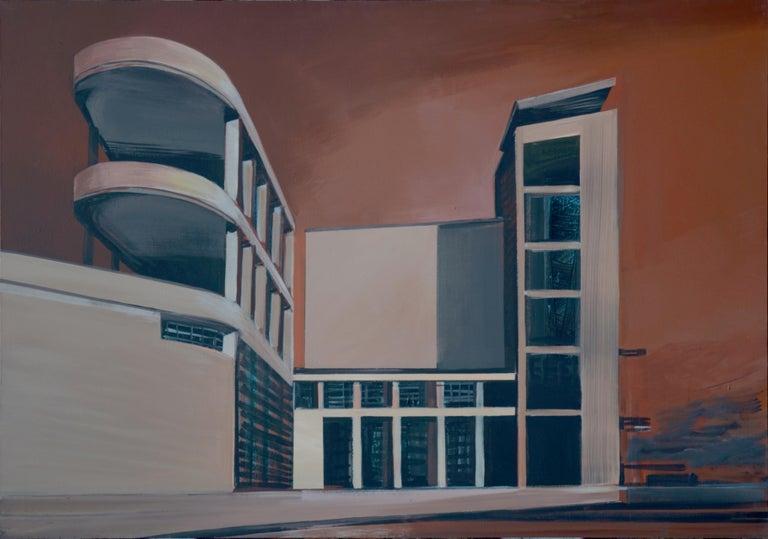 Maria Kiesner Landscape Painting - Milan - Modern Architectural Painting, Modernism Painting, Italy
