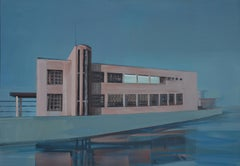 Over the Water - Modern Architectural Painting, Modernism Painting, Architecture