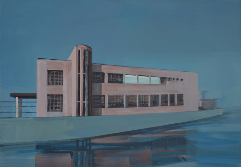 Maria Kiesner Landscape Painting - Over the Water - Modern Architectural Painting, Modernism Painting, Architecture