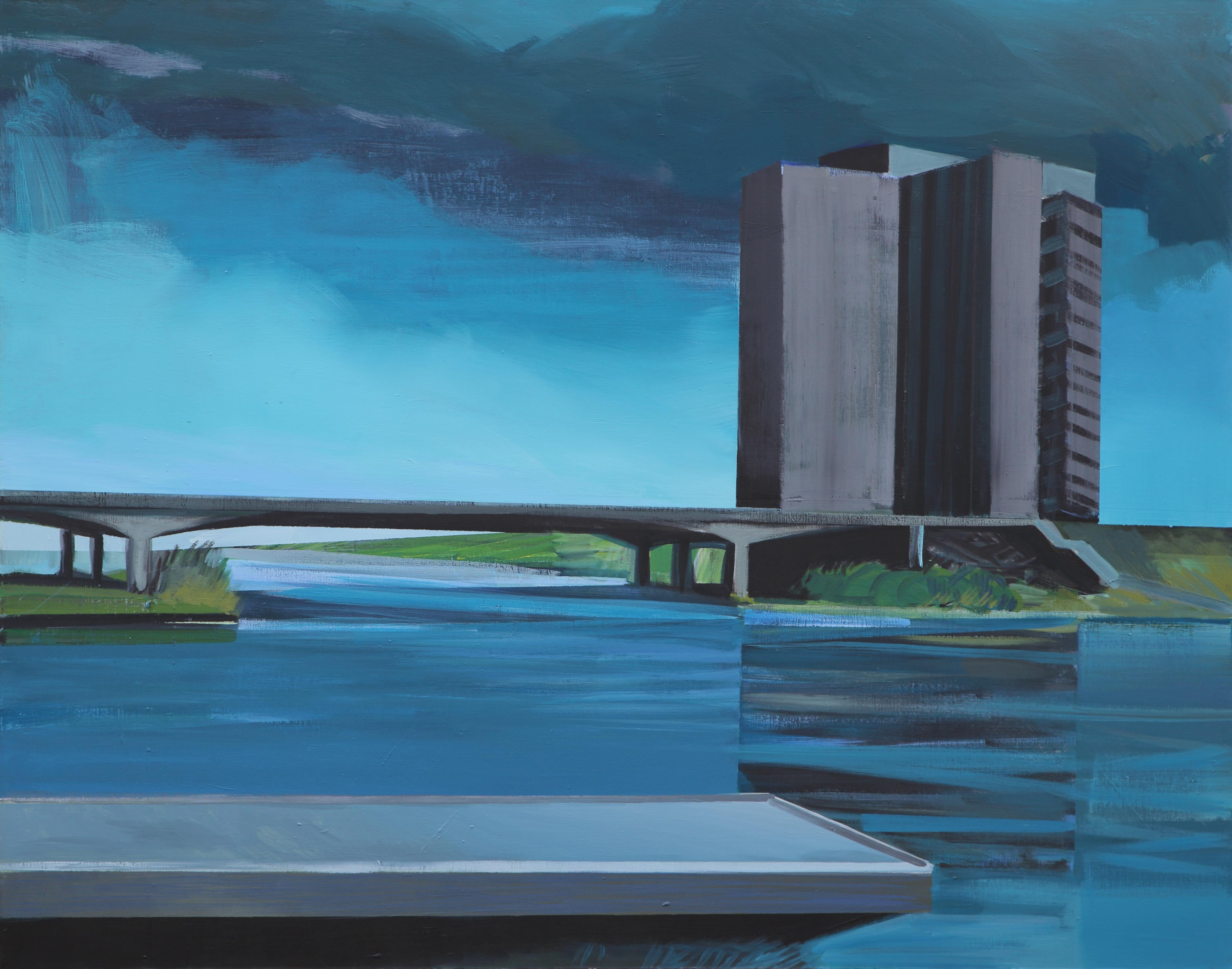 Rome - Modern Architectural Painting, Modernism Painting, River View