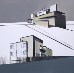Two Houses - Modern Architectural Painting, Modernism Painting, Architecture Art