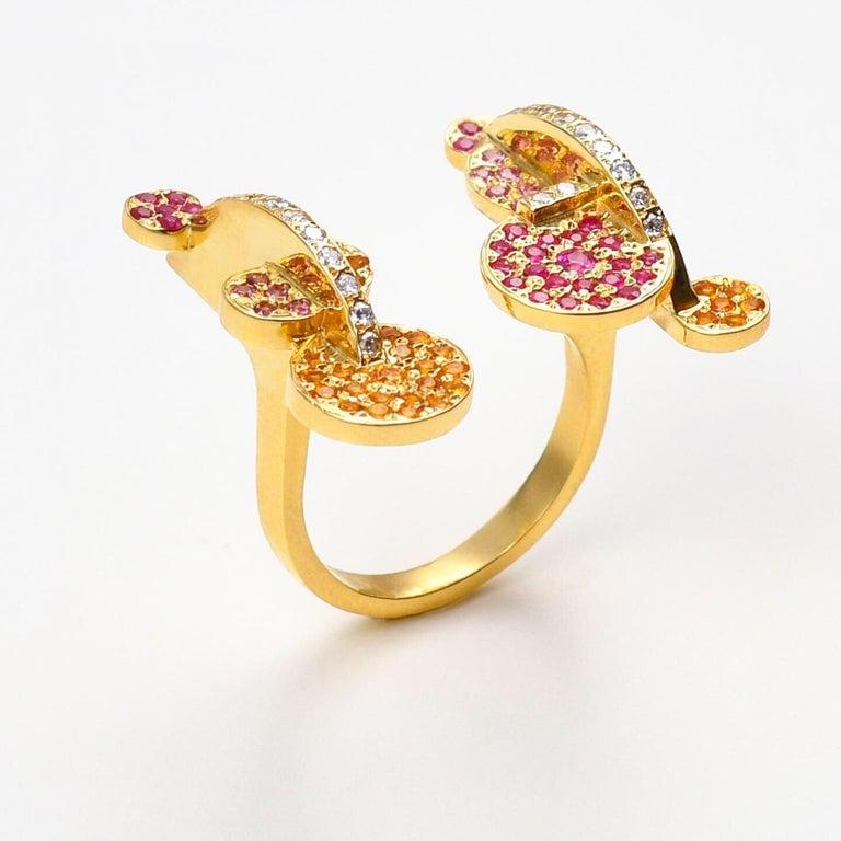 Round Cut Maria Kotsoni, Contemporary 18k Gold Coloured Gemstone & Diamond Sculptural Ring For Sale