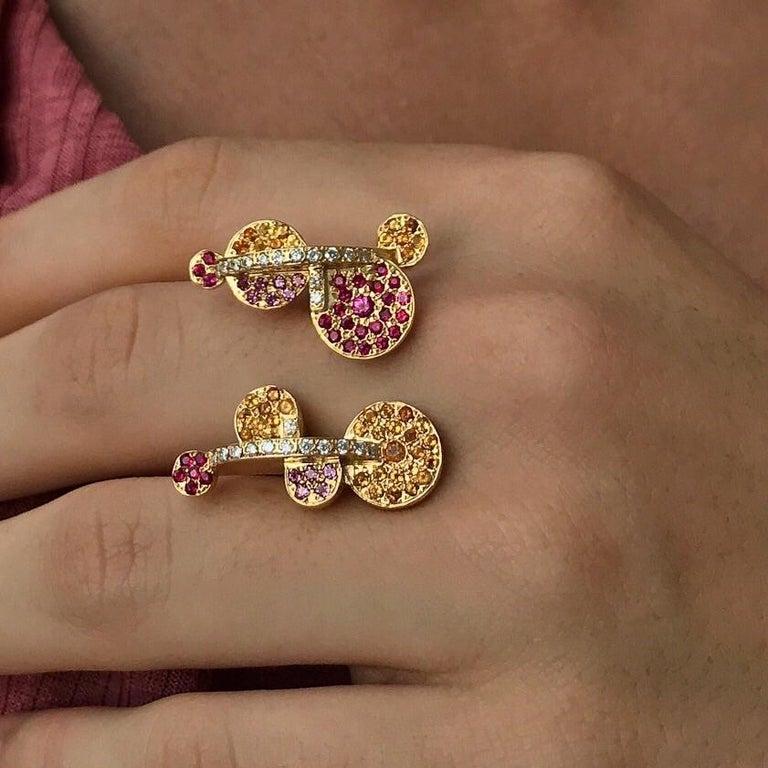 Maria Kotsoni, Contemporary 18k Gold Coloured Gemstone & Diamond Sculptural Ring In New Condition For Sale In Nicosia, CY