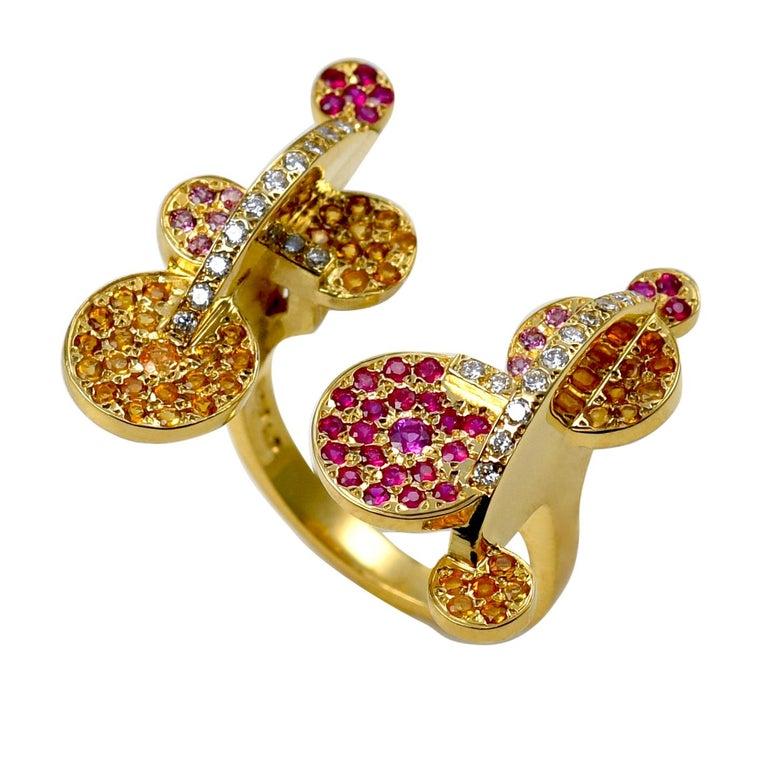 Maria Kotsoni, Contemporary 18k Gold Coloured Gemstone & Diamond Sculptural Ring For Sale
