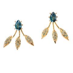 Maria Kotsoni, Contemporary 18K Gold & London Blue Topaz Ear Jackets / Studs