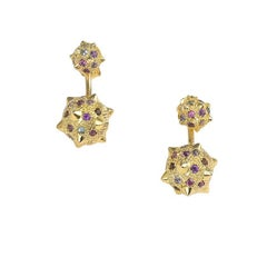 Maria Kotsoni, Contemporary 18K Yellow Gold Tanzanite Morning Star Ear Jackets