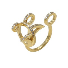 Maria Kotsoni, Contemporary, Sculptural 18K Gold & White Diamond Open Ring