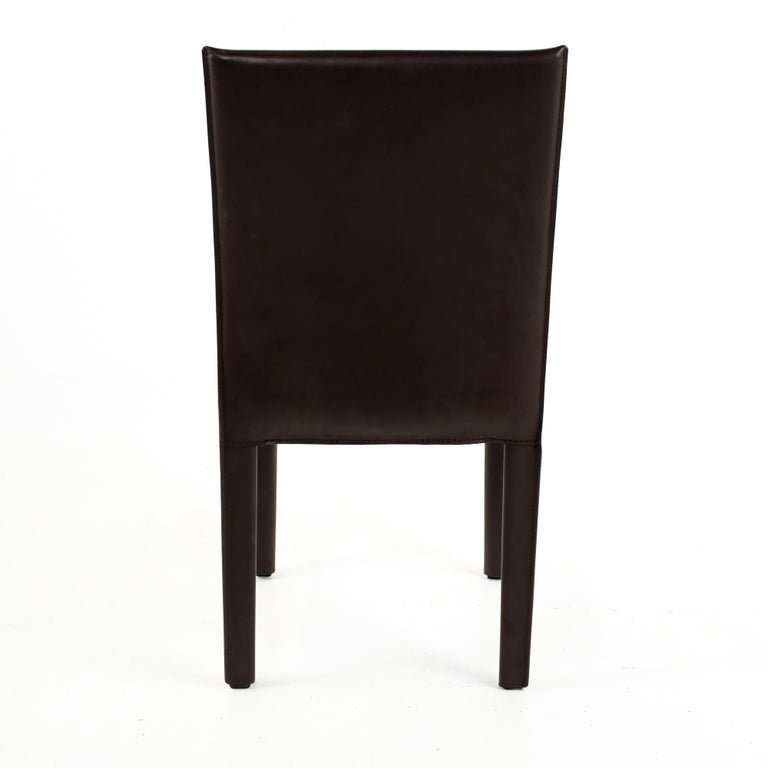 American Maria Lee Leather Dining Chairs, Set of 10 For Sale