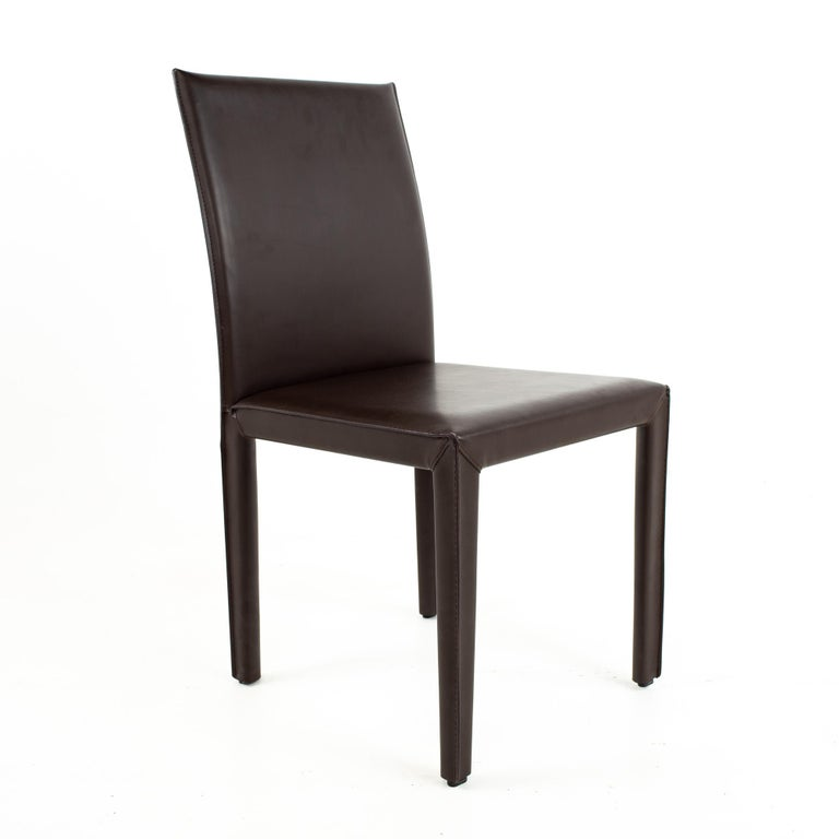 Maria Lee Leather Dining Chairs, Set of 10 In Good Condition For Sale In La Grange, IL