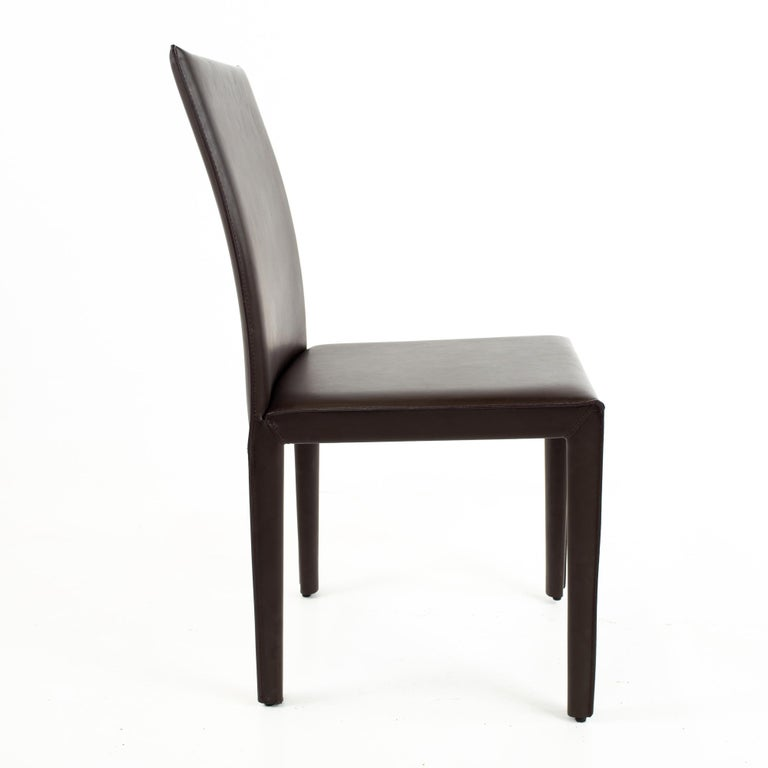 Wood Maria Lee Leather Dining Chairs, Set of 10 For Sale