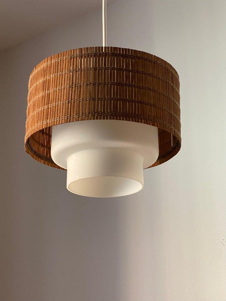 Mid-Century Modern Maria Lindeman, Pendant / Ceiling Light, Glass, Brass, Reed, Idman Finland 1950s For Sale