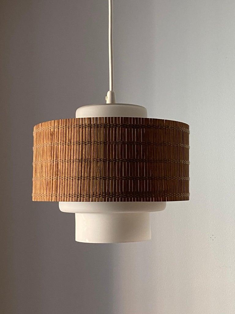 Finnish Maria Lindeman, Pendant / Ceiling Light, Glass, Brass, Reed, Idman Finland 1950s For Sale