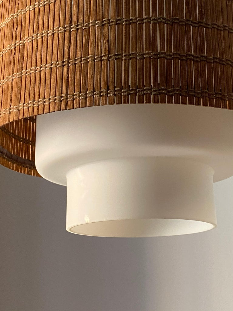 Mid-20th Century Maria Lindeman, Pendant / Ceiling Light, Glass, Brass, Reed, Idman Finland 1950s For Sale
