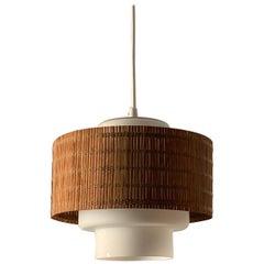 Maria Lindeman, Pendant / Ceiling Light, Glass, Brass, Reed, Idman Finland 1950s