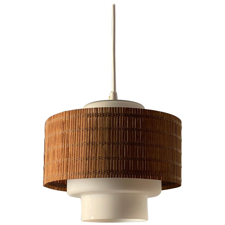 Maria Lindeman, Pendant / Ceiling Light, Glass, Brass, Reed, Idman Finland 1950s For Sale