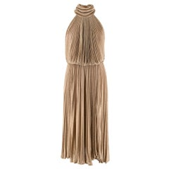 Maria Lucia Hohan Gold Lurex Knit Pleated Dress - US Size 4