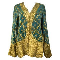 Maria Monacci Gallenga Evening Jacket in Gold Painted Velvet Circa 1930