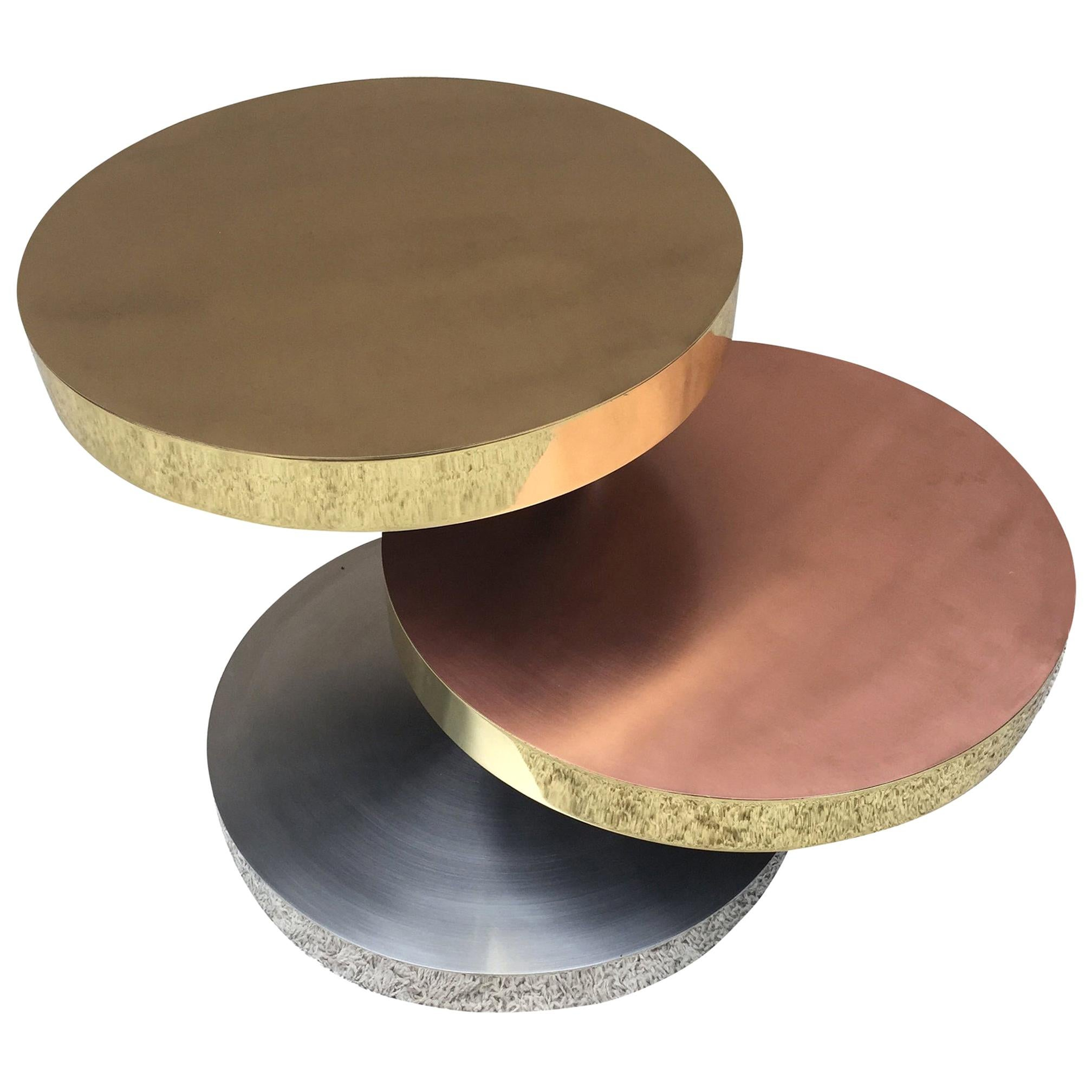 Maria Pergay Style Vintage Unsigned Adjustable Design Three-Tiered Swivel Table