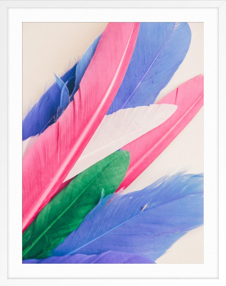 Feather or Not 10 - Purple Abstract Print by Maria Piessis