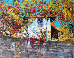Autumn Landscape Painting Oil Canvas Color White Yellow Grey Orange Blue Red Bro