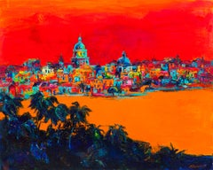 Havana in Red - Landscape Painting Oil Colors Red Yellow White Blue Black