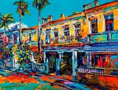 Havana - Landscape Painting Oil Colors Yellow White Grey Blue