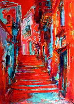 Mediterraneo - Landscape Painting Oil Colors Red Yellow White Blue Black