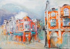 Plovdiv - Painting Oil Canvas Color Red White Yellow Grey Orange Blue Purple