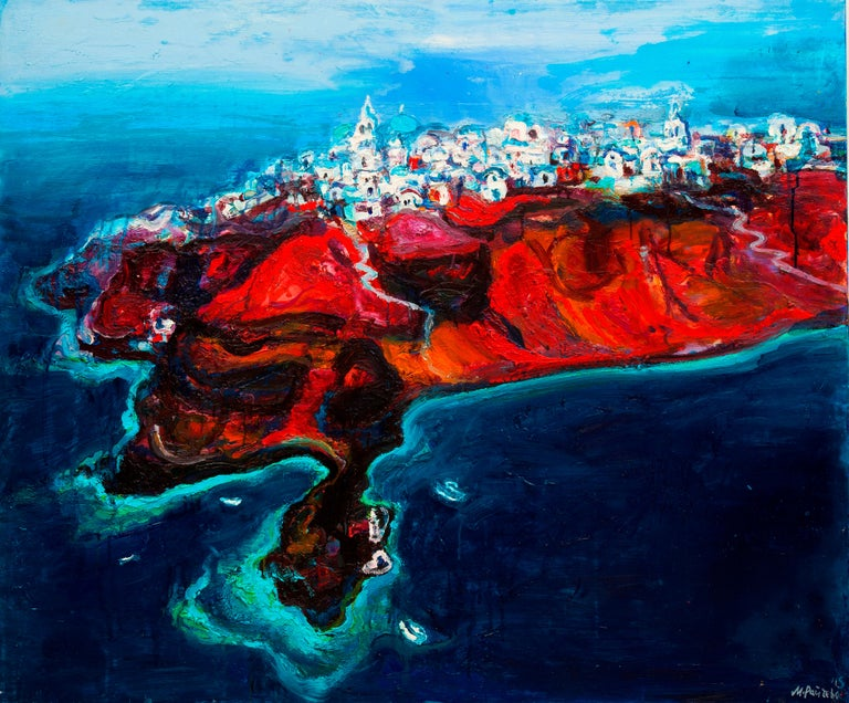 Maria Raycheva Landscape Painting - Santorini Island