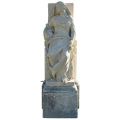Maria Statue on Pedestal 19th Century