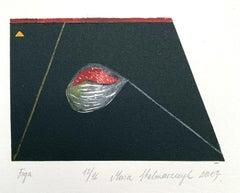 A fig - Contemporary Linocut Woodcut Print, Geometric
