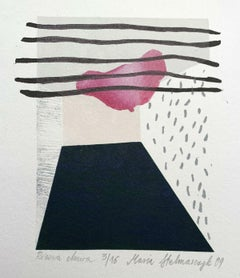 A pink cloud - 21 Century Contemporary Linocut Woodcut Print, Colorful Abstract