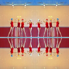 Girl Power I - 27.5 x 27.5 inch color photograph in reds by Maria Svarbova