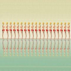 Greta- repetitive figurative  photograph 35 x  35 inches swimming pool