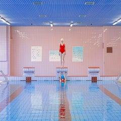 Hide- Swimmer 35x 35 inch figurative color photograph in Slovakian swimming pool