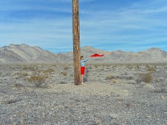 Lost in the Valley (Red Flag) -landscape color photograph by Maria Svarbova