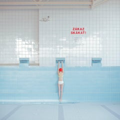 Pool Without Water- framed figurative swimming pool photograph in blue and red