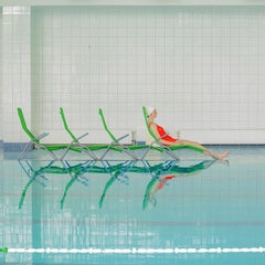 Seats- Maria Svarbova in the swimming pool series 27 x 27 inch photograph
