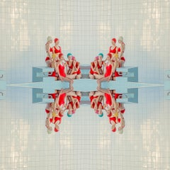 Symmetry- framed 30 x 30 geometric figurative photograph in reds and blues