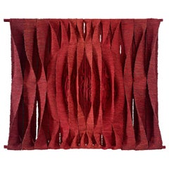 Maria Tapta Large Wall Sculpture in Red Textiles, Belgium, 1975