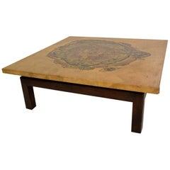 Maria Teresa Mendez Coffee Table, Goatskin Mahogany, Mid Century Mexican Modern
