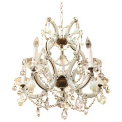 Maria Teresa Milk Glass & Brass Chandelier with Crystal and Opalescent Pendants