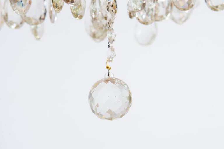 Maria Theresa Chandelier in Transparent Murano Glass, Italy, 1930s For Sale 3