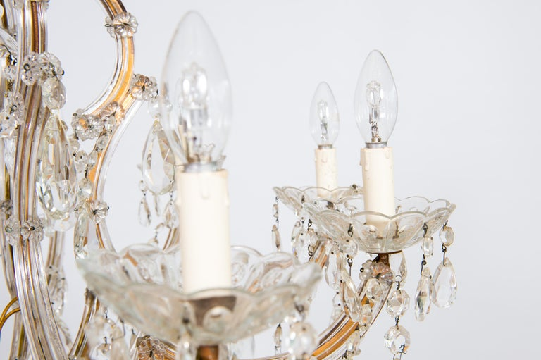 Maria Theresa Chandelier in Transparent Murano Glass, Italy, 1930s For Sale 6