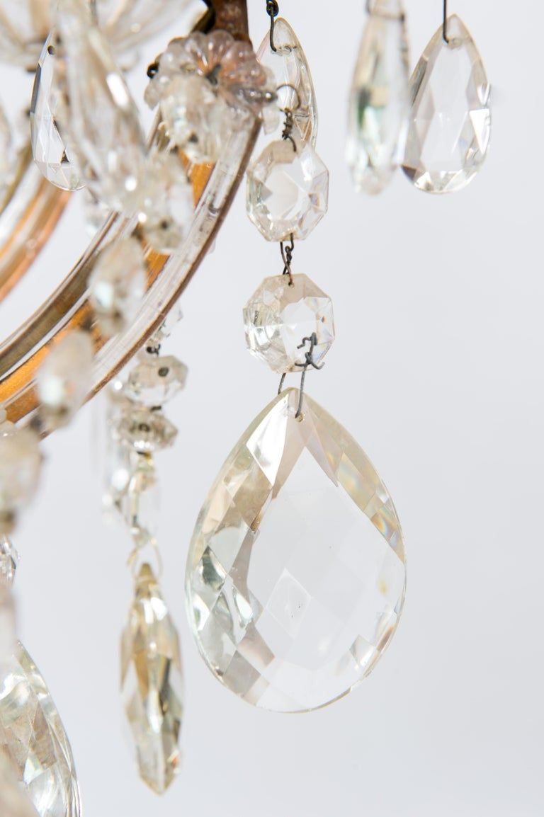 Maria Theresa Chandelier in Transparent Murano Glass, Italy, 1930s For Sale 9