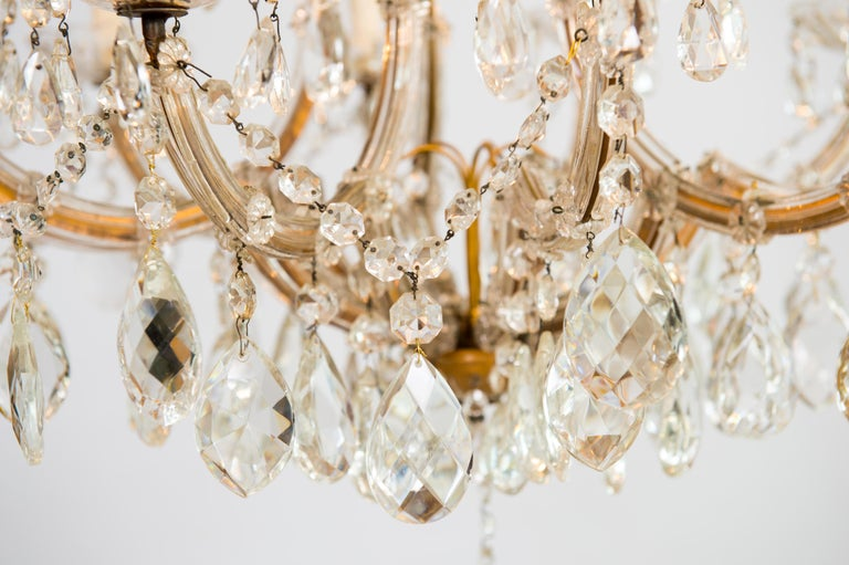 Maria Theresa Chandelier in Transparent Murano Glass, Italy, 1930s For Sale 12