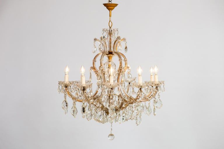 Maria Theresa Chandelier in Transparent Murano Glass, Italy, 1930s For Sale 13