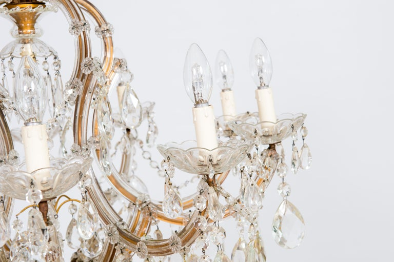 Mid-Century Modern Maria Theresa Chandelier in Transparent Murano Glass, Italy, 1930s For Sale